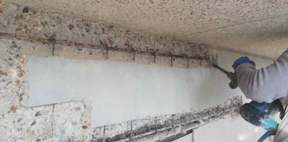 Verwijderen aangetast beton